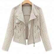 Abrigo de chaqueta de solapa con cremallera y encaje delgado