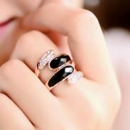 Moda Hora Rosa Oro Diamante de imitación anillo