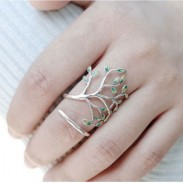 Unique Handmade Tree Forest Leave Glaze Branch Silver Open Ring