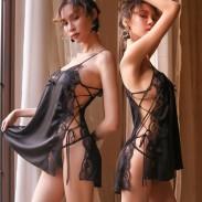 Chemise para mujer suelta vendaje lateral hueco con cordones tirantes encaje camisón Babydoll Strappy ropa de dormir Lencería