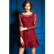 Nuevo vestido de malla bordado hueco de la temporada nueva