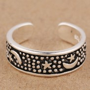 Bohemia Style Star Silver Rings Retro Moon Anillo ajustable abierto