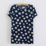 Camiseta de algodón de manga corta pequeña de crisantemo