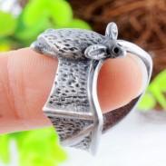 Moda Vuelo Murciélago Plata Aleación Apertura anillo