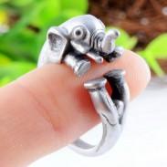 Retro Plata Aleación Encantador Bebé Elefante Apertura anillo