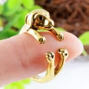Linda Grande Orejas Cachorro en forma de Aleación animales Apertura anillo