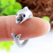 Encantador Linda Delfín Antigüedad Vendimia Plata animales Apertura anillo