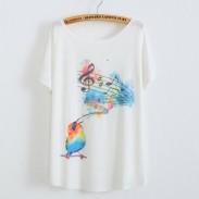 Los pájaros cantan la camiseta estampada animal de Notes