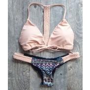 Bikini Sexy de Geometría Rosa Tejido