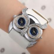 Linda Búho Embutido Diamante Doble Marcar Ojos Reloj