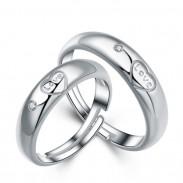 Anillo de plata del amante romántico anillo cuadrado de la abrazadera del tamaño ajustable del zircon