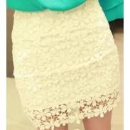 Nueva Niza falda de encaje de ganchillo de cintura alta Mini
