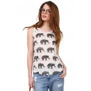 Elefante que imprime la camiseta irregular sin mangas del chaleco del cuello redondo