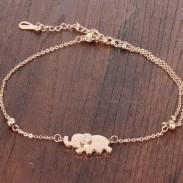 Suerte Rosa Joyas de pie de tobillera Diamante de oro elefante