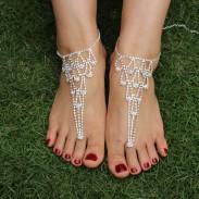 Rhinestone Corazón Foot Jewelry Playa Sandalias descalzas Tobillera