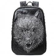Punk PU Estéreo Feroz Cabeza de lobo Remaches Grande 3D Animal Colegio Mochila