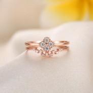 Rosa Oro Diamante Trébol Apertura Ajustable Plata Doble Círculo anillo