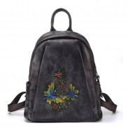 Retro Libélula Ramas Flores Mochila de viaje de cuero original hecha a mano