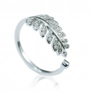 Moda Hojas Diamante Ajustable Apertura Plata anillo