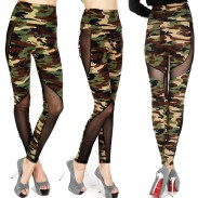Sexy Chicas Malla Ver A través del camuflaje Empalme Ninth Skinny Legging