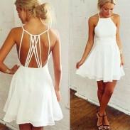 Nifty Girl's sin mangas blancas cruzadas correas Backless Party vestido de noche de cóctel Ruffles gasa vestidos de verano
