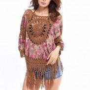 Blusa exterior de estilo indio de la mujer borla tejer a mano Tops de gran tamaño