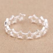 Linda Hueco Estrella Mujer 925 Plata Abierto anillo