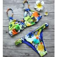 Braguita estampado mariposa Bikini Braid Bikini estilo dúplex Conjunto de bikini