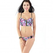 Conjunto de bikini de cremallera dorada floral Hollow Swimsuit Swimwear traje de baño