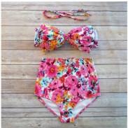 Traje de baño de cintura alta Bow Bikini Push Up traje de baño