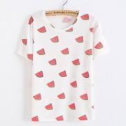 Ocio Rojo Sandía Impreso Fruit Cotton White Camisetas