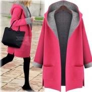Chaqueta de lana suelta con capucha de las mujeres Chaqueta de lana de gran tamaño con capucha larga