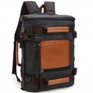 Ocio bolso de escuela de gran capacidad Cilíndrico empalme cubo viaje lona mochila