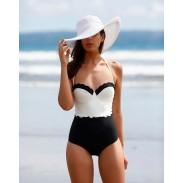 Conjunto de bikini de traje de baño de encaje de bikini de una pieza en color blanco y negro