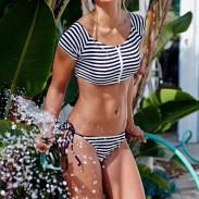 Bikinis sexy de la impresión del vintage juego de baño de la playa del traje de baño de la raya