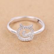 Gatito lindo cara plata pequeño zircon gatito anillo abierto