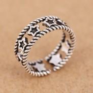 Retro plata hueca accesorio mujeres anillos estrella abierta anillo