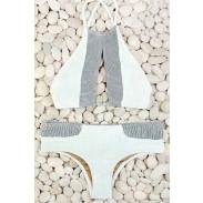 Gris Y Blanco Sexy Bikini Establecer traje de baño Playa de baño