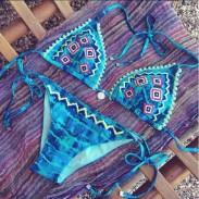 Gradiente Bordado Azul Sexy Bikini Set traje de baño trajes de baño de playa