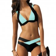 Traje de baño de verano de las mujeres atractivas contraste correa cruzada de color Halter Bikini