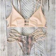 Serpentina Impresión Vendaje Sexy Bikini Establecer traje de baño
