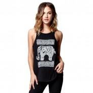 Elephant Totem Printing Chaleco redondo con cuello redondo camiseta