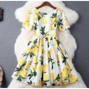 Vestido de fiesta de vestido de manga corta de seda de impresión de limón de la manera