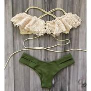 Bañador de traje de baño sexy caliente Bikini de triángulo verde exquisito de encaje