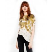 Moda camiseta de manga corta con estampado de teñido anudado para mujer
