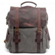 Retro hecha a mano al aire libre grande mochila de cuero de vaca empalme gruesa escuela de lona mochila