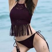 Nuevo traje de baño Sexy Bikini Tassel Bikini Set Pure Hollow Out