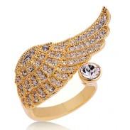 Elegante Ángel Alas Cristal anillo
