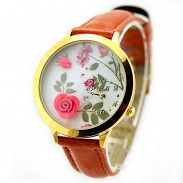 Fresh Flower Gold Edge Polymer Clay Watch