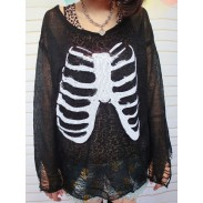 Unique Skull Skeleton Sequined Hollow Out Sleeve Sweater
